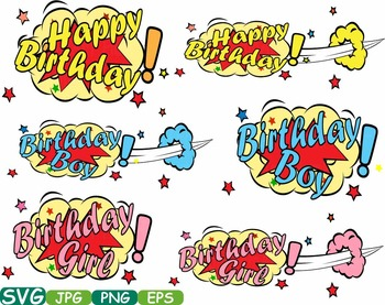 Happy Birthday Comic Book clipart Text Props Speech Bubble