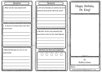 Happy Birthday, Dr. King! Comprehension Foldable