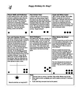 Happy Birthday Dr. King Story Dots- Houghton Mifflin 4th G