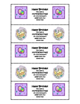 Happy Birthday Homework Coupons