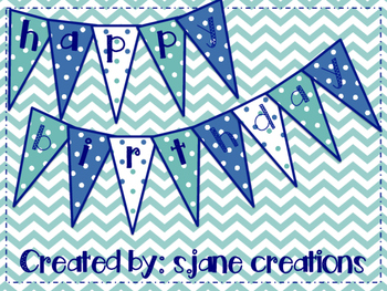 Happy Birthday Pennant- Teal & Navy