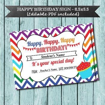 Happy Birthday Sign, Editable PDF, Chevron Rainbow, Studen