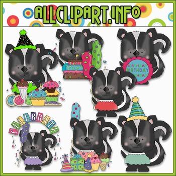Happy Birthday Skunks Clip Art - Cheryl Seslar Clip Art