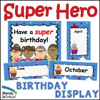 Super Hero Happy Birthday Stars Theme Board Board Month Posters