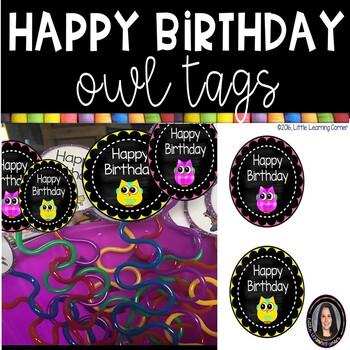 Happy Birthday Tags ~ Owls