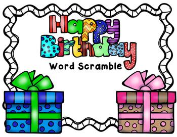Happy Birthday Word Scramble