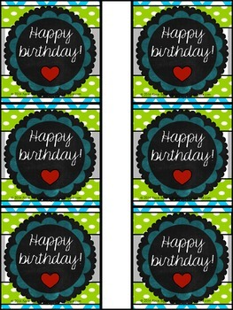 Happy Birthday cards/pencil toppers! Blue, Lime Green, and