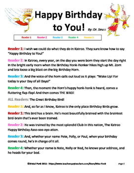 Happy Birthday to You by Dr. Seuss Readers Theater