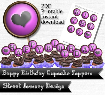 Happy Birthday with Heart Party Printable PDF Cupcake Topp