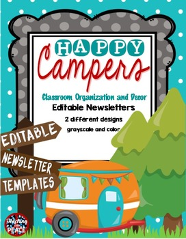 Camping Classroom Theme ***editable*** Newsletter Templates