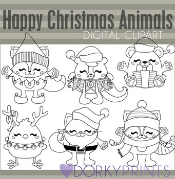 Happy Christmas Animals Black Line Clip Art