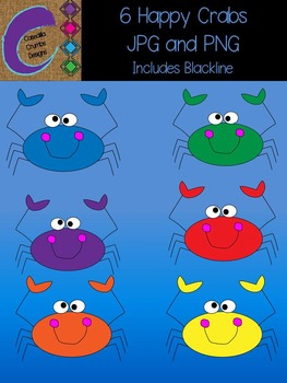 Happy Crabs Clip Art Graphics Set with 6 different colors