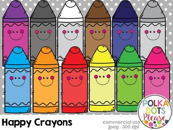 Happy Crayons {Graphics for Commercial Use}