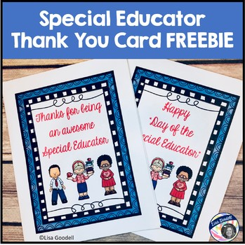 "Happy ""Day of the Special Educator"" thank you card FREEBIE"
