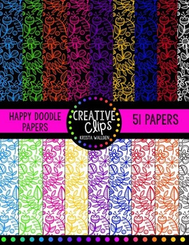 Happy Doodle Digital Papers {Creative Clips Digital Clipart}