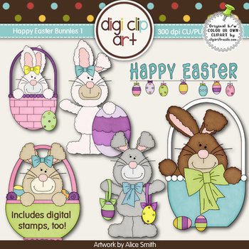 Happy Easter Bunnies 1-  Digi Clip Art/Digital Stamps - CU