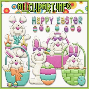 BUNDLED SET - Happy Easter Bunnies Clip Art & Digital Stam