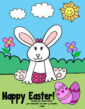 Happy Easter Coloring Pages (Spanish & English)