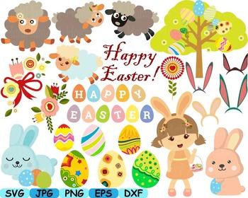 Happy Easter clip art svg eggs Bunny Egg Spring Flowers an
