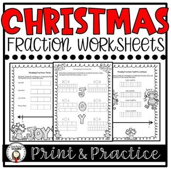 Christmas Fraction Worksheet Bundle