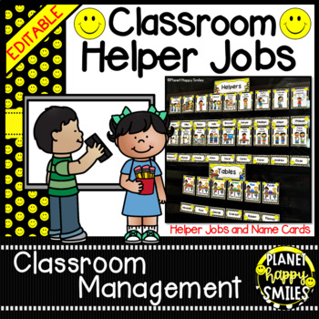 Classroom Helper Jobs (EDITABLE) ~ Smiley Face, Happy Face