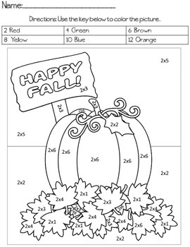Happy Fall Multiplication Color By Code