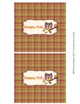 Happy Fall Owl Large Candy Bar Wrappers