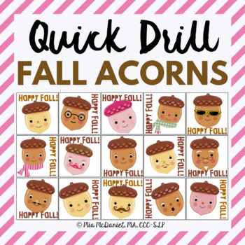 Happy Fall Quick Drill {for articulation or fluency therap