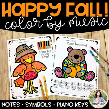 Music Coloring Sheets for Fall & Autumn {Color by Music Sy