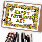 "Happy Father's Day Mechanical Coloring Page - 8.5 x 11"" in"
