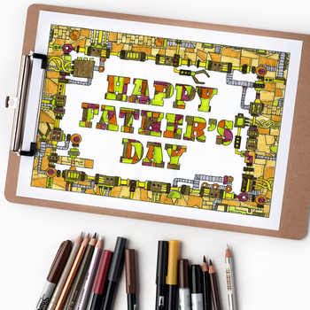 """Happy Father's Day Mechanical Coloring Page - 8.5 x 11"""" in"""