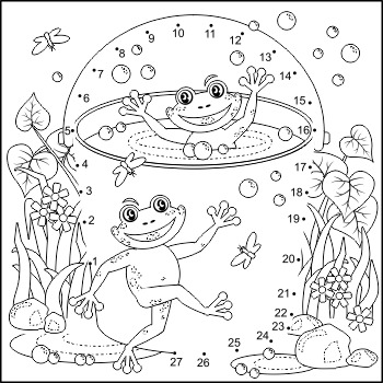 Happy Frogs Connect the Dots Puzzle and Coloring Page, Com