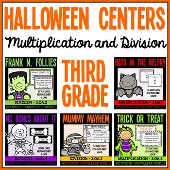 Happy Halloween - 5 Third Grade Math Center Games- Multipl
