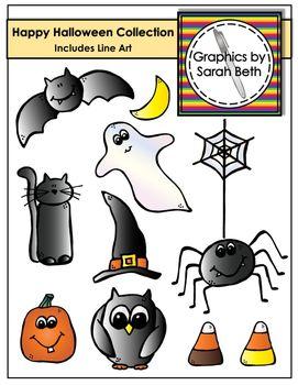 Happy Halloween Clipart Collection - Halloween Graphics