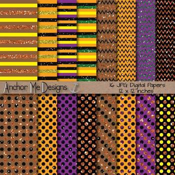 Happy Halloween Glitter (Fall Colors) Chevron, Polka Dot &