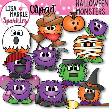 Happy Halloween Monsters Costume Clipart