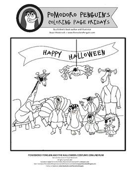 Happy Halloween - Pomodoro Penguin Coloring Sheet 7