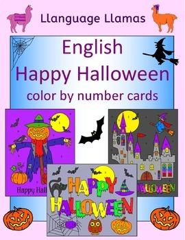 Happy Halloween color by number cards for EFL ESL EAL