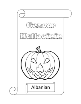 Happy Halloween in 60 languages coloring-in scrolls