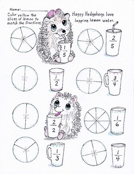 Happy Hedgehogs easy fractions worksheet for K-2nd grade