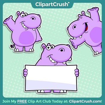 Royalty Free Happy Hippo Clipart Character! 3 poses, 6 fil