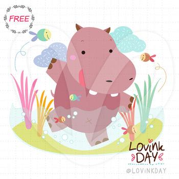 Happy Hippo - FREE clip art
