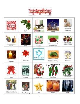 Happy Holidays Bingo (Celebrating Christmas Around the World)