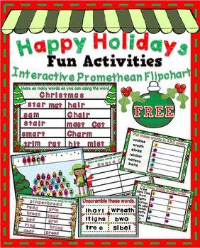 Happy Holidays Fun Interactive Activities ~ Promethean Fli