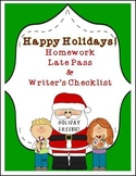 FREE HAPPY HOLIDAYS LATE HOMEWORK COUPON WRITER'S CHECKLIST