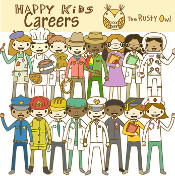 Happy Kids Career Clip art set