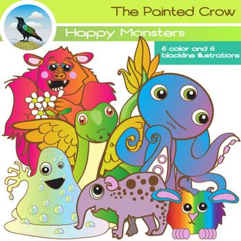 Happy Monsters Clipart Set - Creatures clipart - Color & B