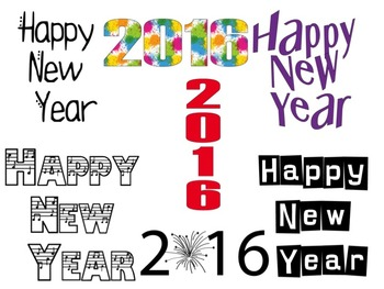 Happy New Year 2016 Clip Art Package