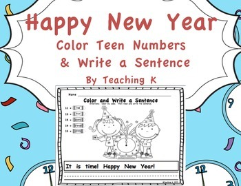 Happy New Year Color and Write a Sentence Writing Activity