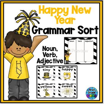 Happy New Year Word Sort-Noun,Verb,Adjective